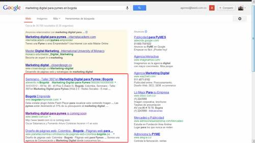 resultados naturales de la busqueda en google